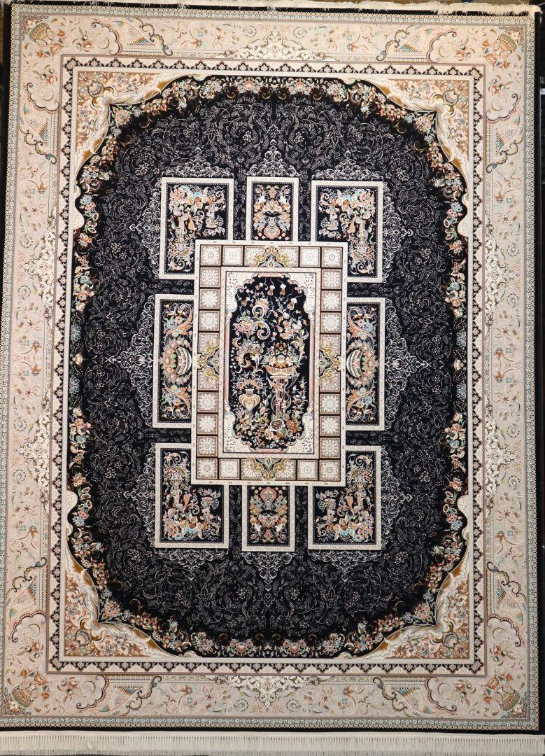 فرش 1200 شانه گل برجسته نقشه آذین زمینه سرمه ای