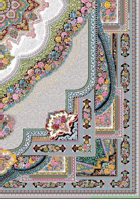 فرش 700 شانه نقشه باغ معلق زمینه فیلی