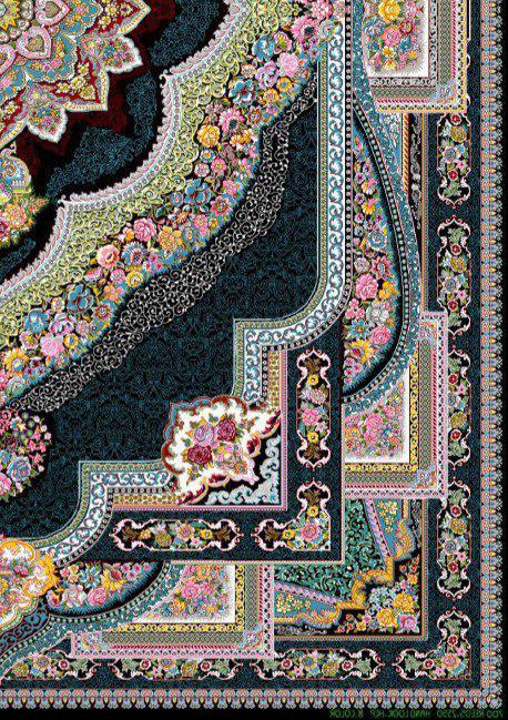 فرش 700 شانه نقشه باغ معلق زمینه سرمه ای