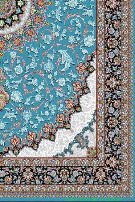 فرش 700 شانه نقشه اصفهان زمینه آبی