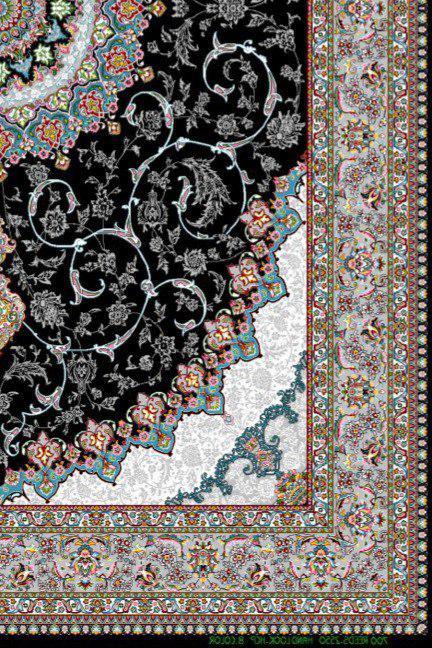 فرش 700 شانه نقشه اصفهان زمینه سرمه ای