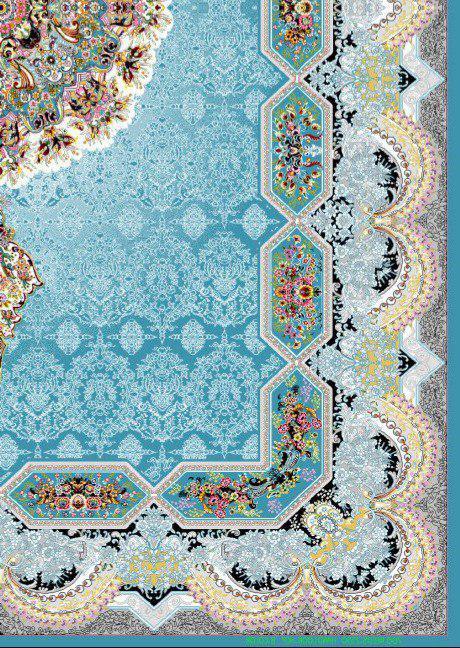 فرش 700 شانه نقشه هالیدی زمینه آبی