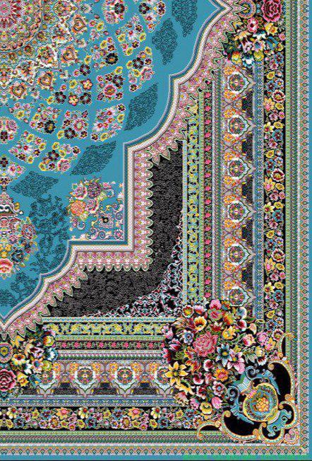 فرش 700 شانه نقشه لوکس زمینه آبی