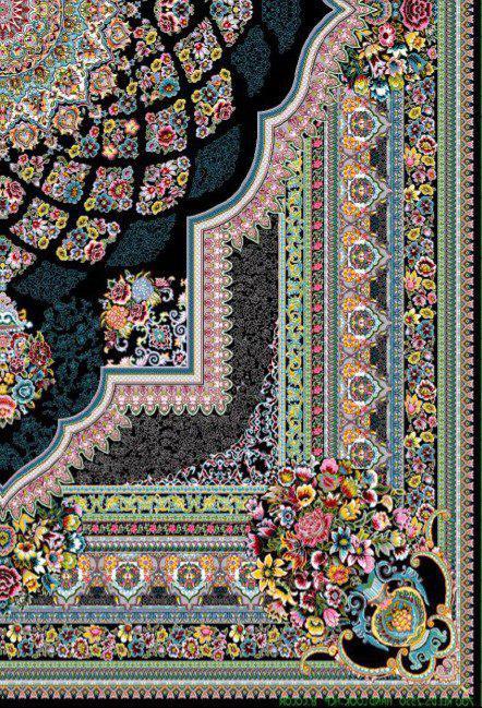 فرش 700 شانه نقشه لوکس زمینه سرمه ای