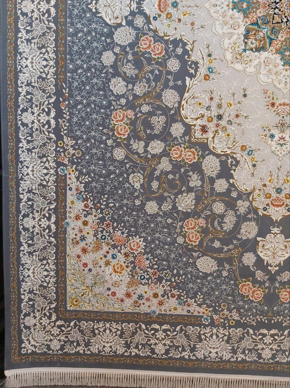 فرش 1200 شانه گل برجسته نقشه ناوک زمینه ذغالی