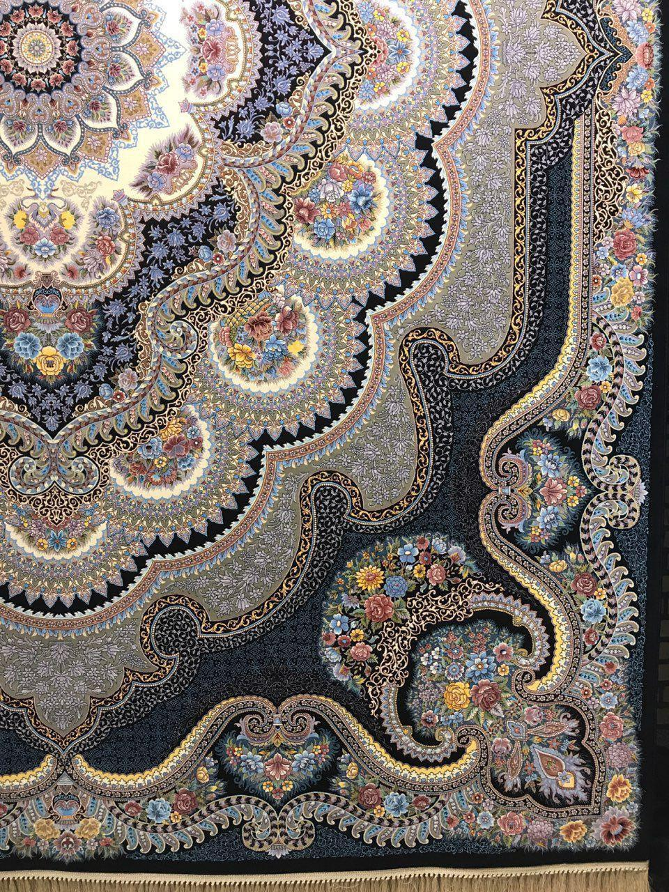 فرش 1200 شانه نقشه باغ ملک زمینه سرمه ای