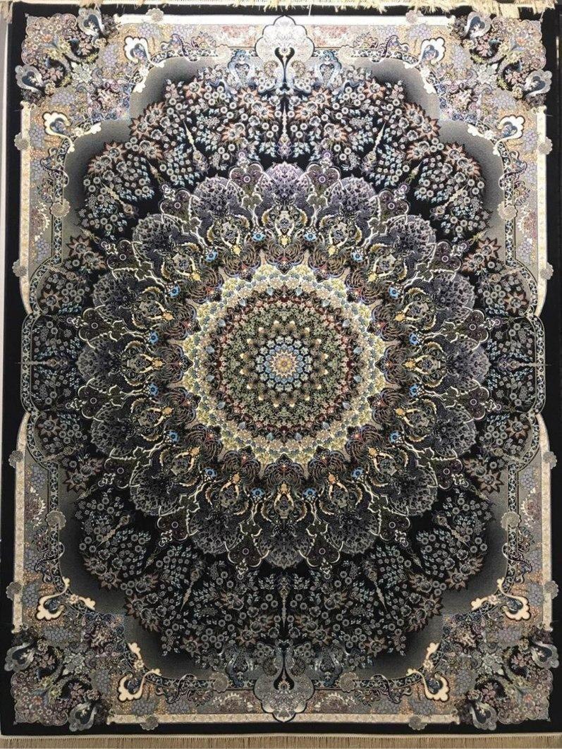 فرش 1200 شانه نقشه جواهر زمینه سرمه ای