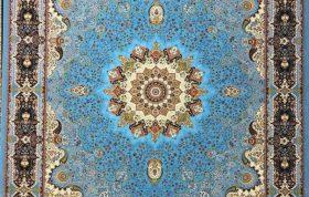 فرش 1200 شانه نقشه خاتون زمینه آبی