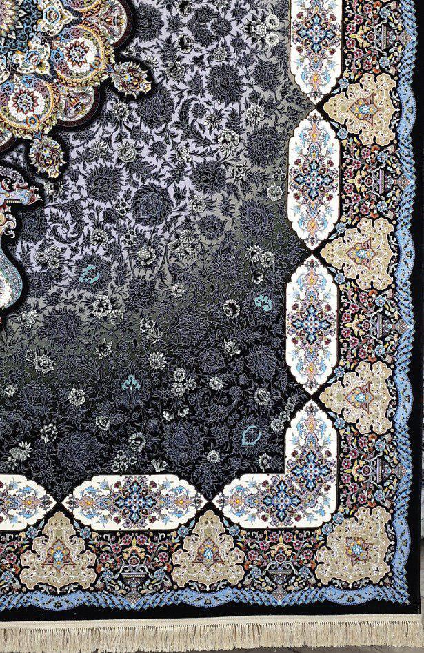 فرش 1200 شانه نقشه فرنگیس زمینه سرمه ای
