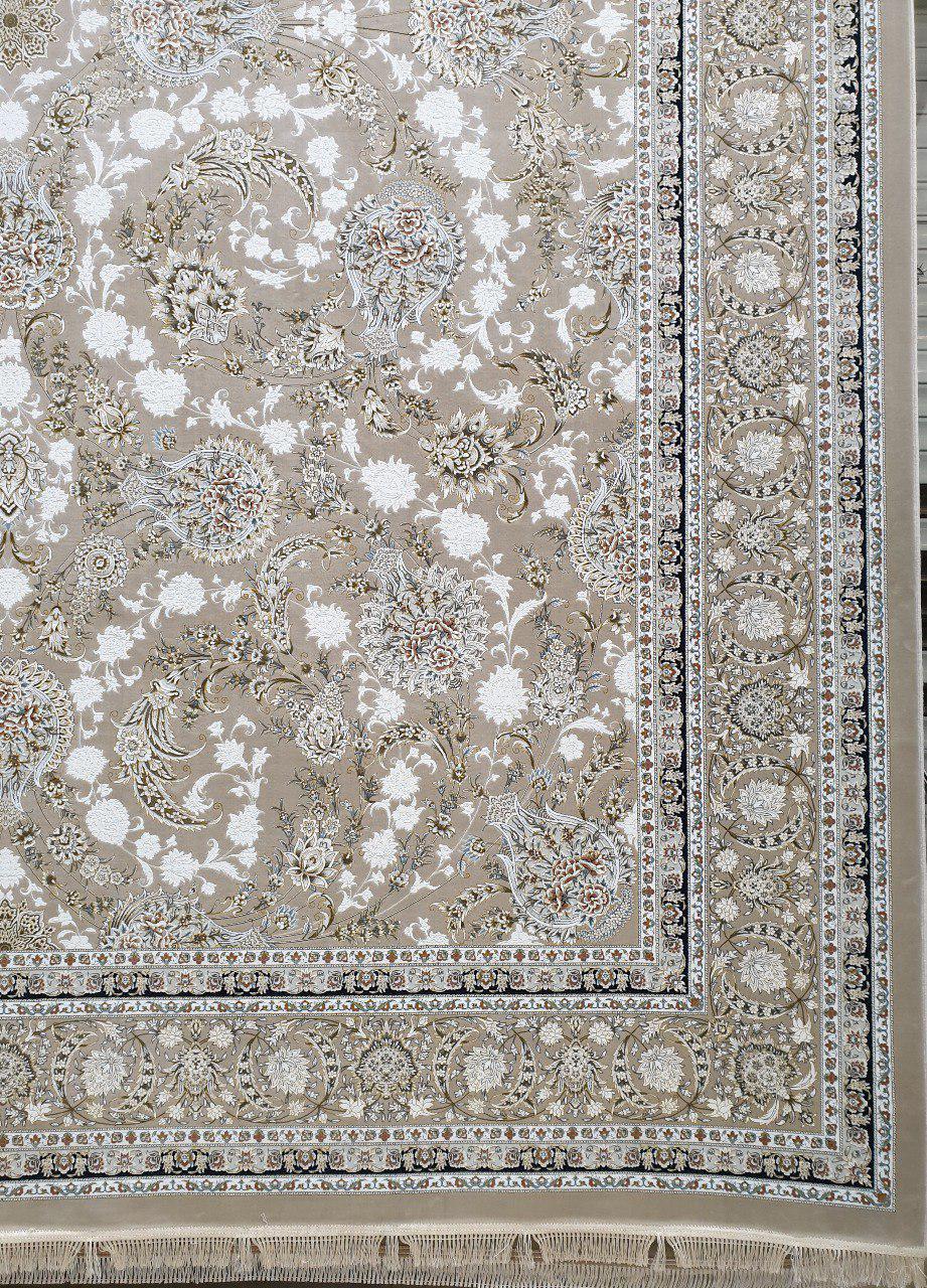 فرش 1500 شانه گل برجسته نقشه افشان زمینه بژ