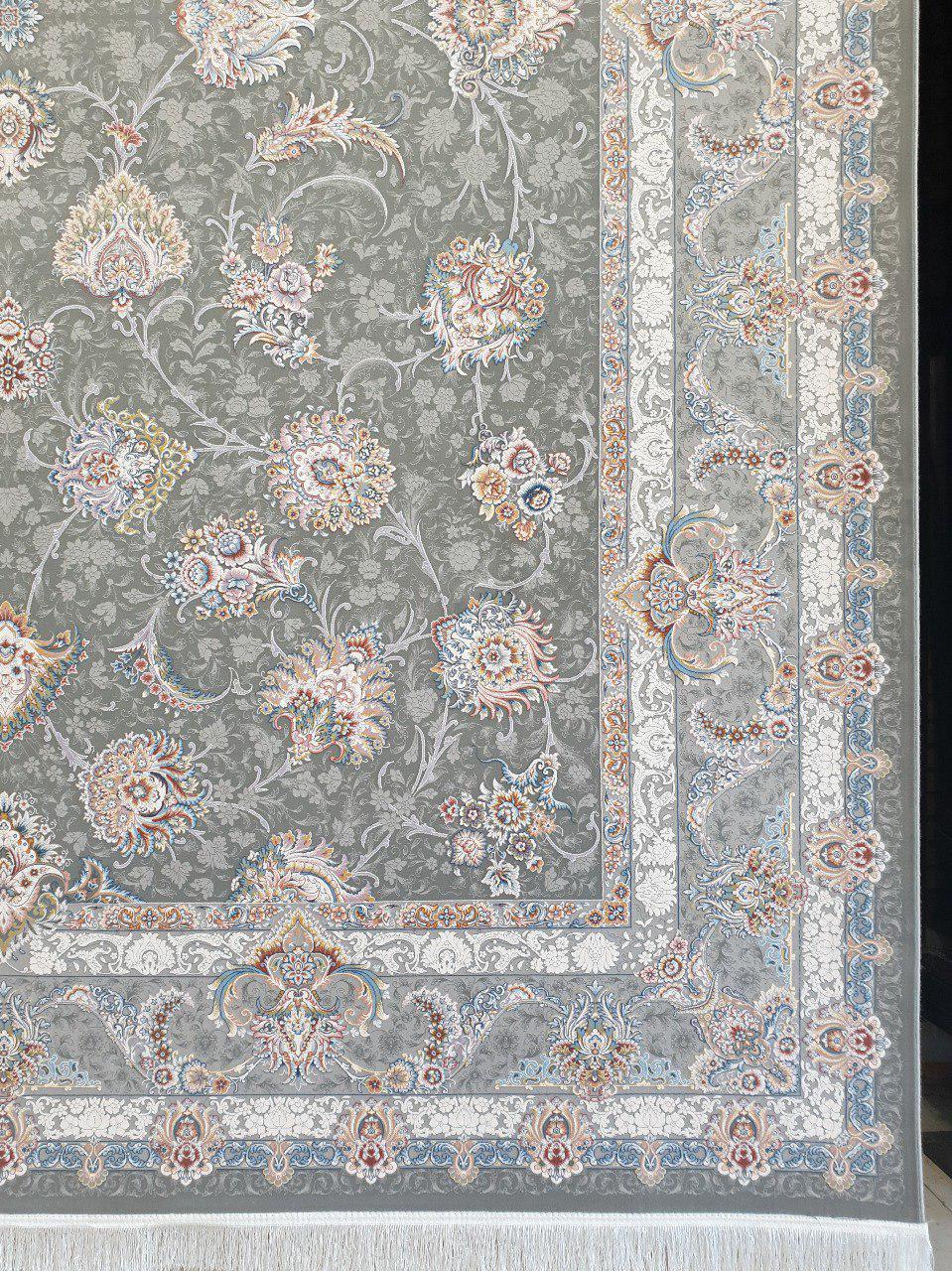 فرش 1200 شانه گل برجسته نقشه افشان همتا زمینه متالیک