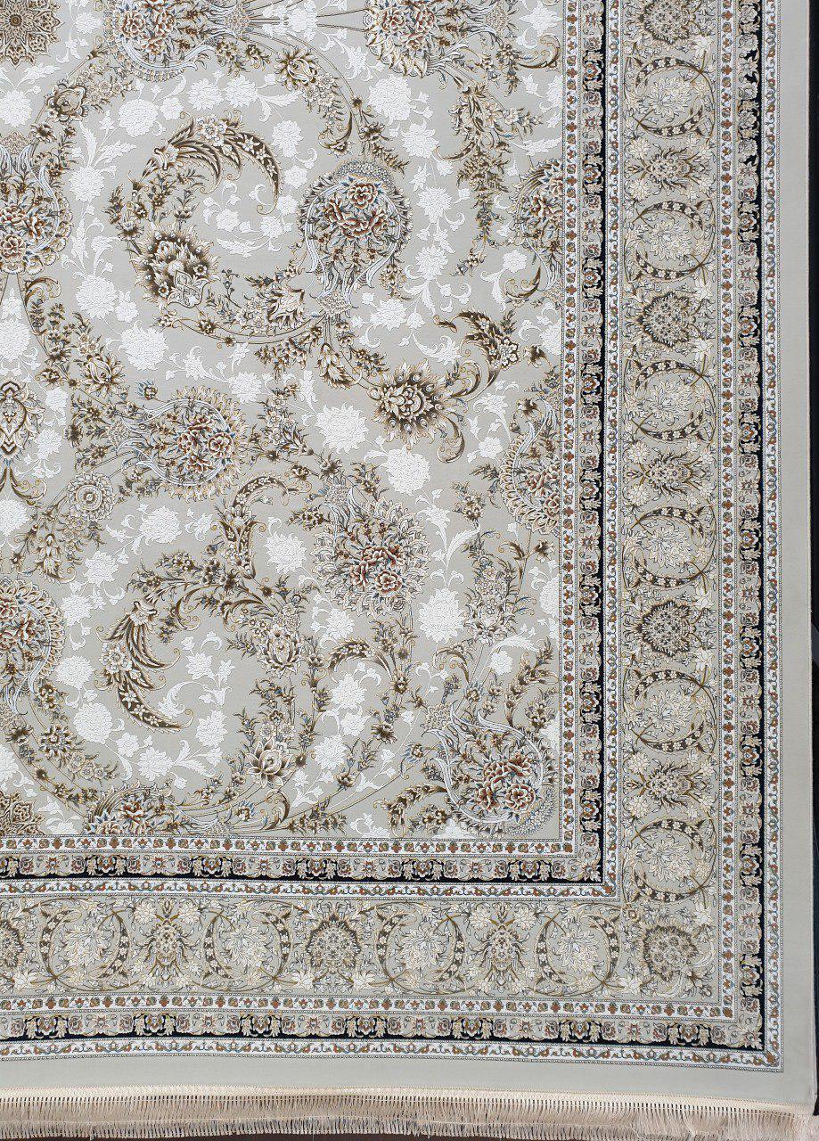 فرش 1500 شانه گل برجسته نقشه افشان زمینه کرم نقره ای