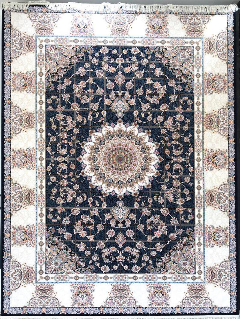 فرش 1200 شانه گل برجسته نقشه افشان خشتی زمینه سرمه ای