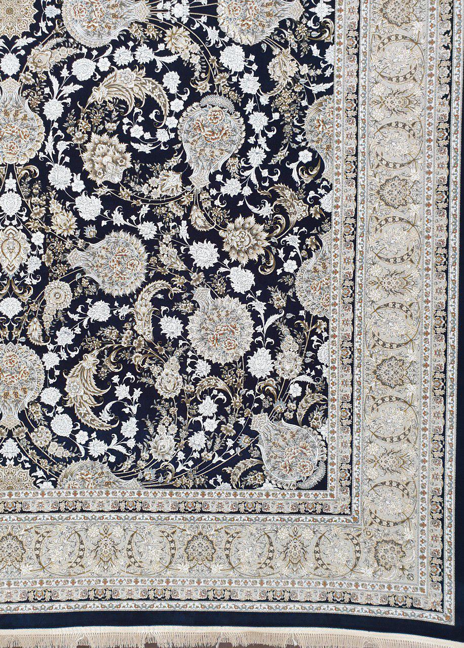 فرش 1500 شانه گل برجسته نقشه افشان زمینه سرمه ای