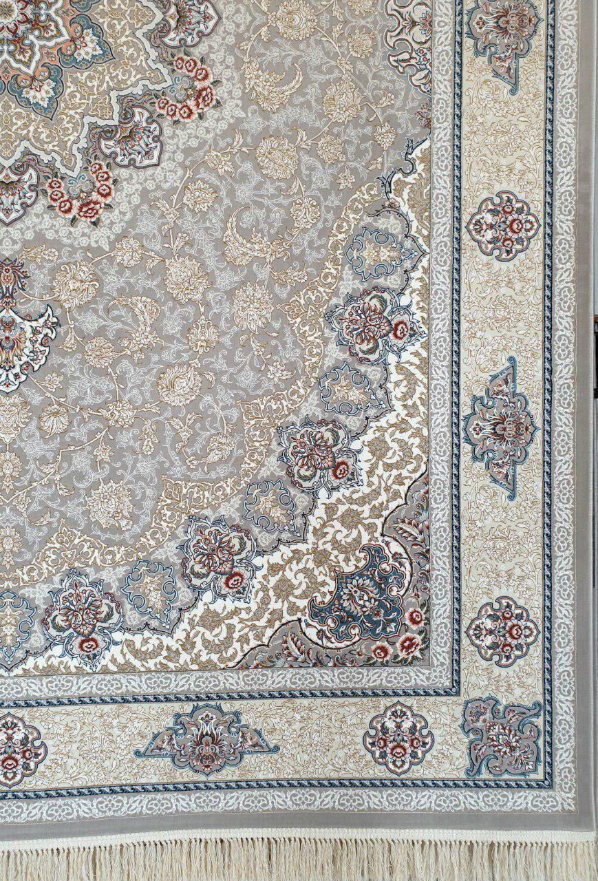 فرش 1200 شانه گل برجسته نقشه آتریسا زمینه نقره ای