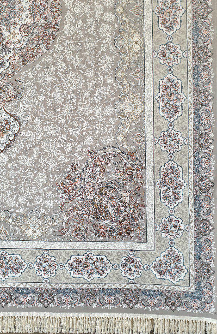 فرش 1200 شانه گل برجسته نقشه آیلین زمینه نقره ای