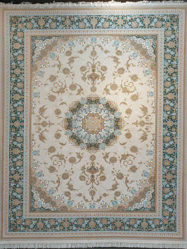 فرش 1200 شانه گل برجسته نقشه بید مجنون زمینه کرم حاشیه آبی کله غازی