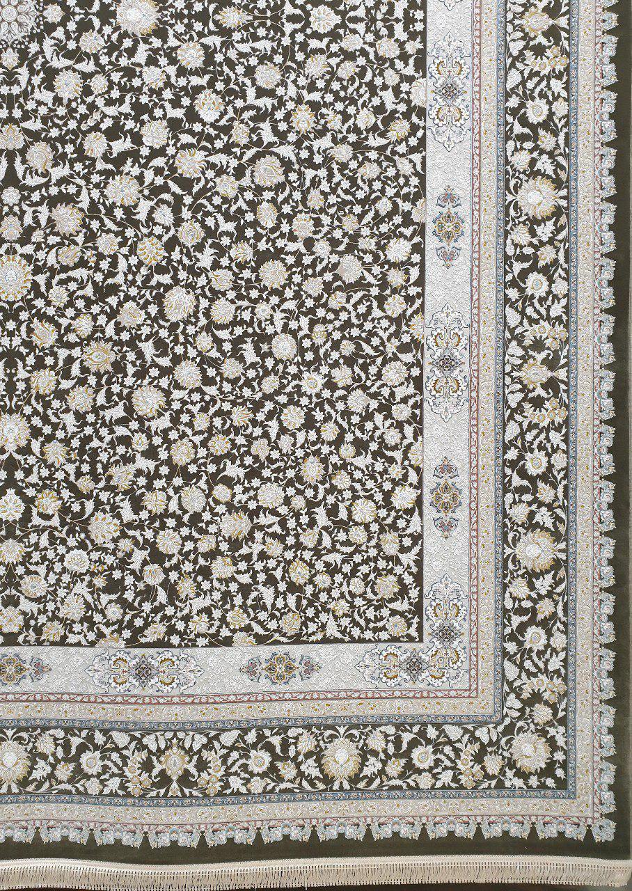 فرش 1500 شانه گل برجسته نقشه افشان زمینه دودی