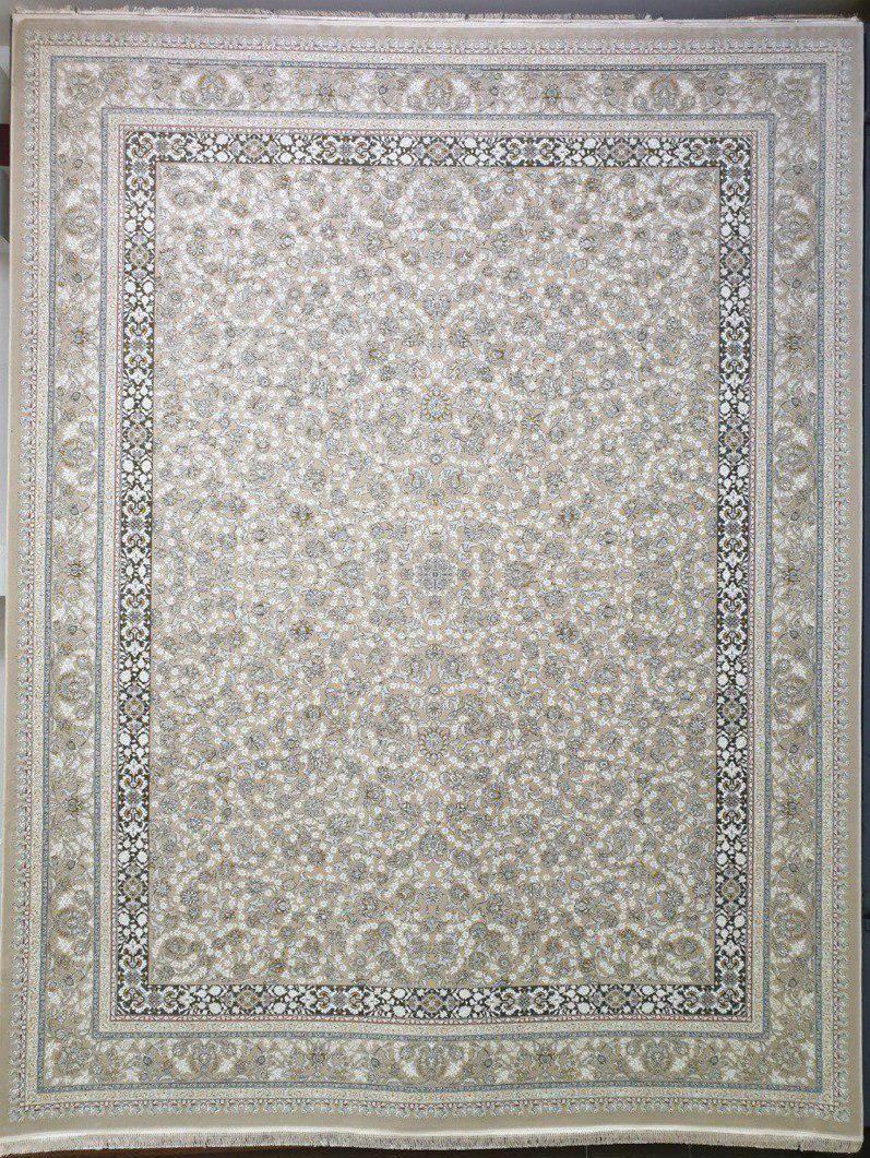 فرش 1500 شانه گل برجسته نقشه دایانا زمینه کرم بژ
