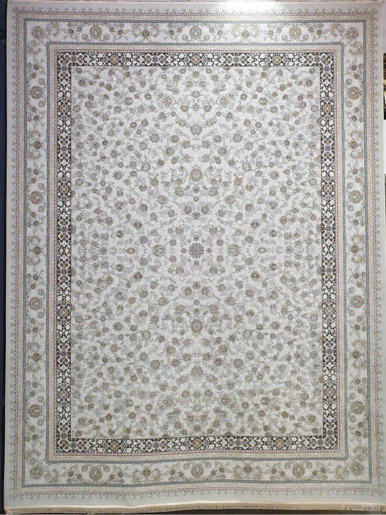 فرش 1500 شانه گل برجسته نقشه دایانا زمینه کرم نقره ای