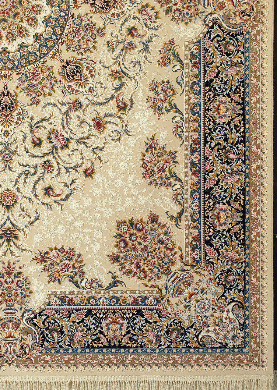 فرش 1200 شانه گل برجسته نقشه دلسا زمینه کرم حاشیه سرمه ای
