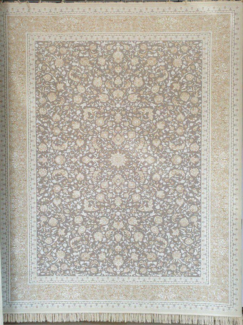 فرش 1200 شانه گل برجسته نقشه دنیز زمینه نقره ای حاشیه کرم