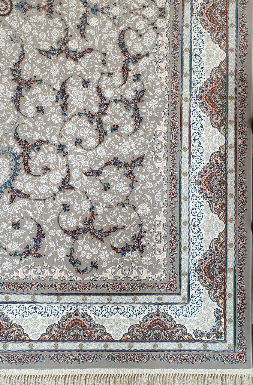 فرش 1200 شانه گل برجسته نقشه دیناز زمینه نقره ای