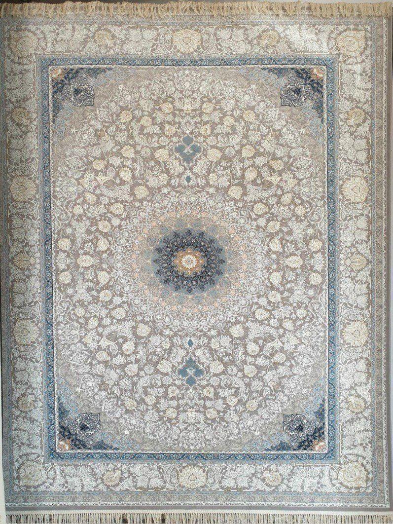 فرش 1200 شانه گل برجسته نقشه الما زمینه نقره ای
