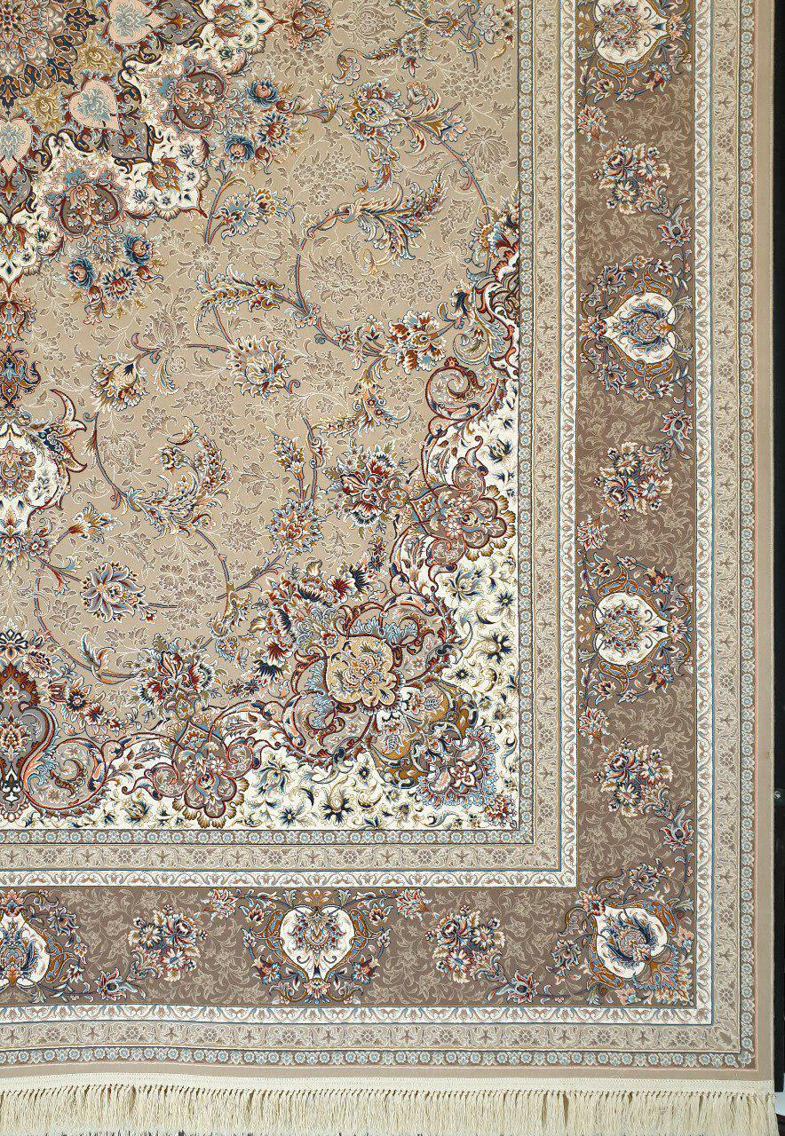 فرش 1200 شانه گل برجسته نقشه اصفهان زمینه فیلی