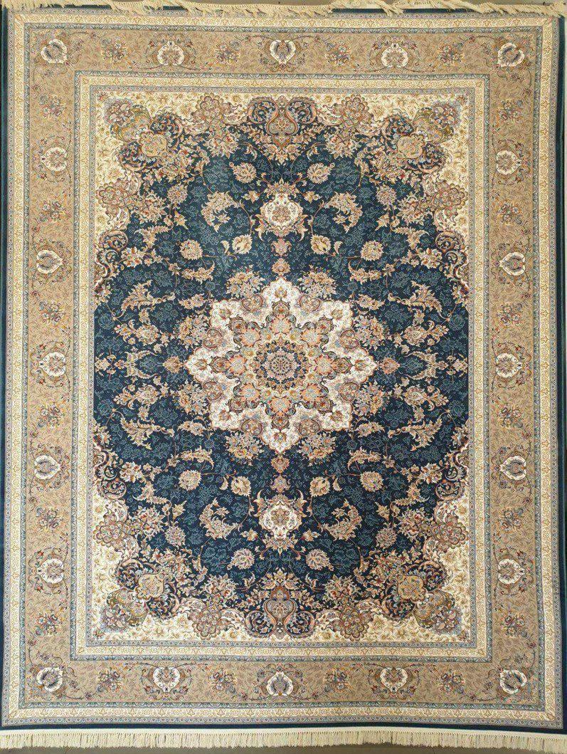 فرش 1200 شانه گل برجسته نقشه اصفهان زمینه کاربنی