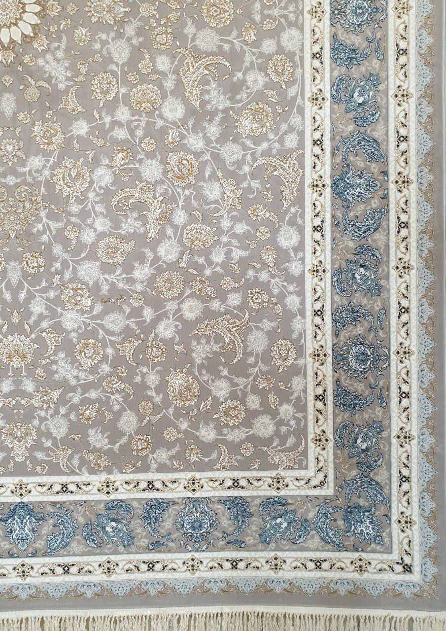 فرش 1200 شانه گل برجسته نقشه گلناز زمینه نقره ای