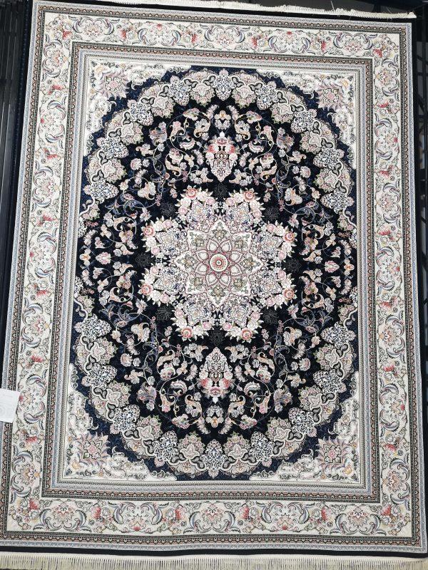 فرش 700 شانه گل برجسته نقشه میخک زمینه سرمه ای