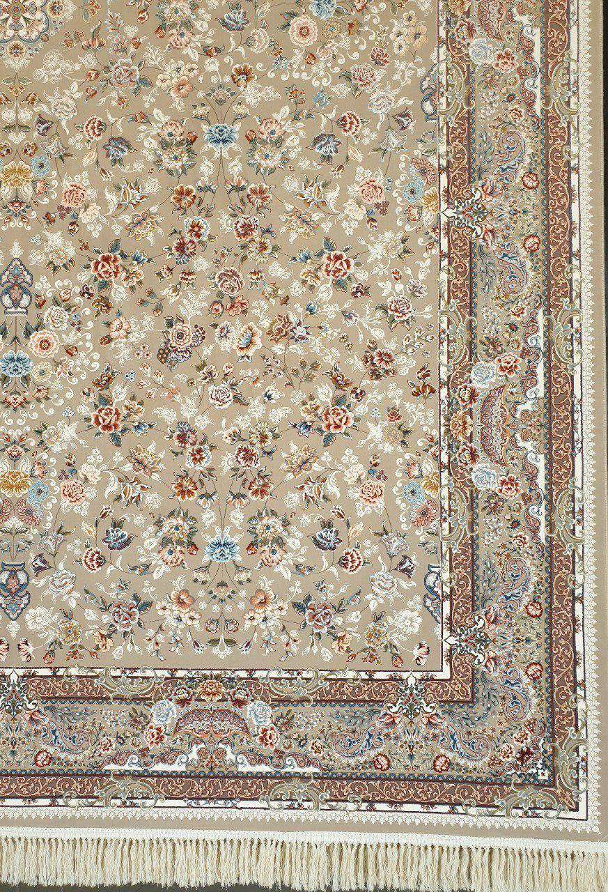 فرش 1200 شانه گل برجسته نقشه سعادت زمینه فیلی