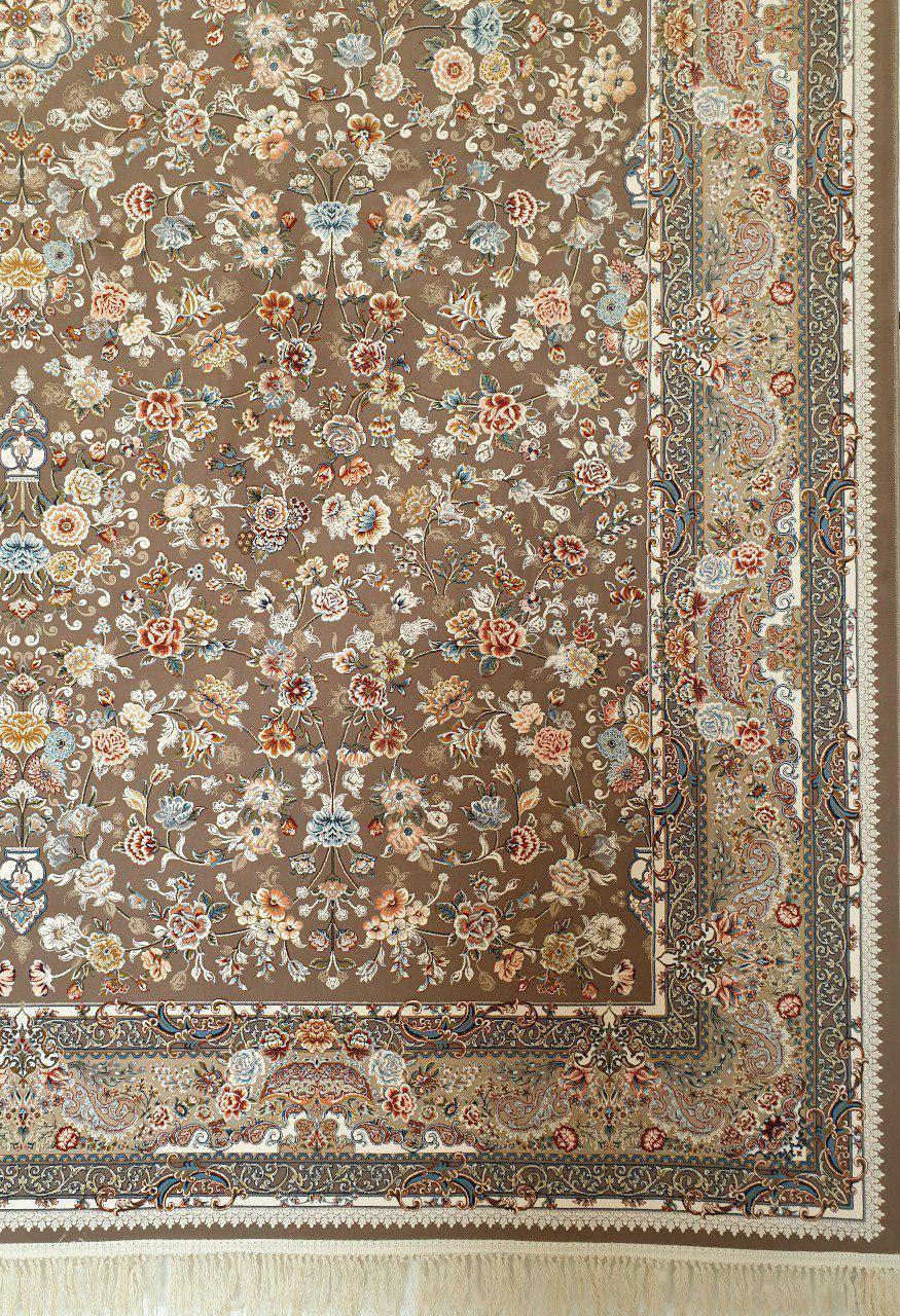 فرش 1200 شانه گل برجسته نقشه سعادت زمینه شکلاتی