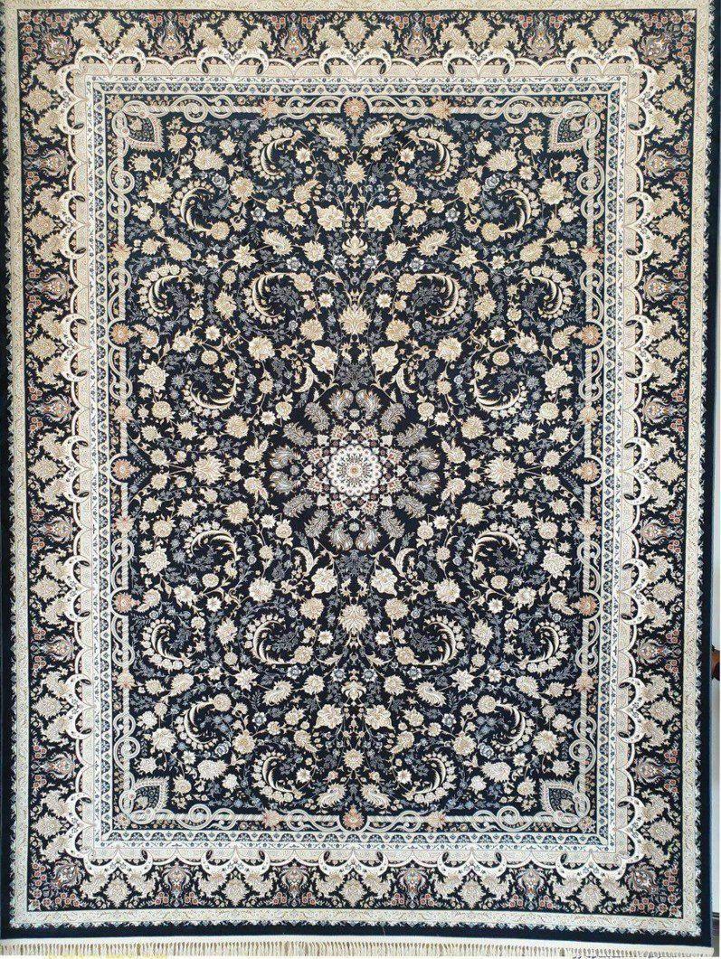 فرش 1200 شانه گل برجسته نقشه سوفیا زمینه سرمه ای