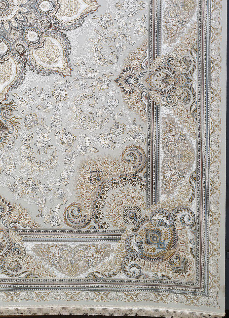 فرش 1500 شانه گل برجسته نقشه یادگار زمینه کرم نقره ای