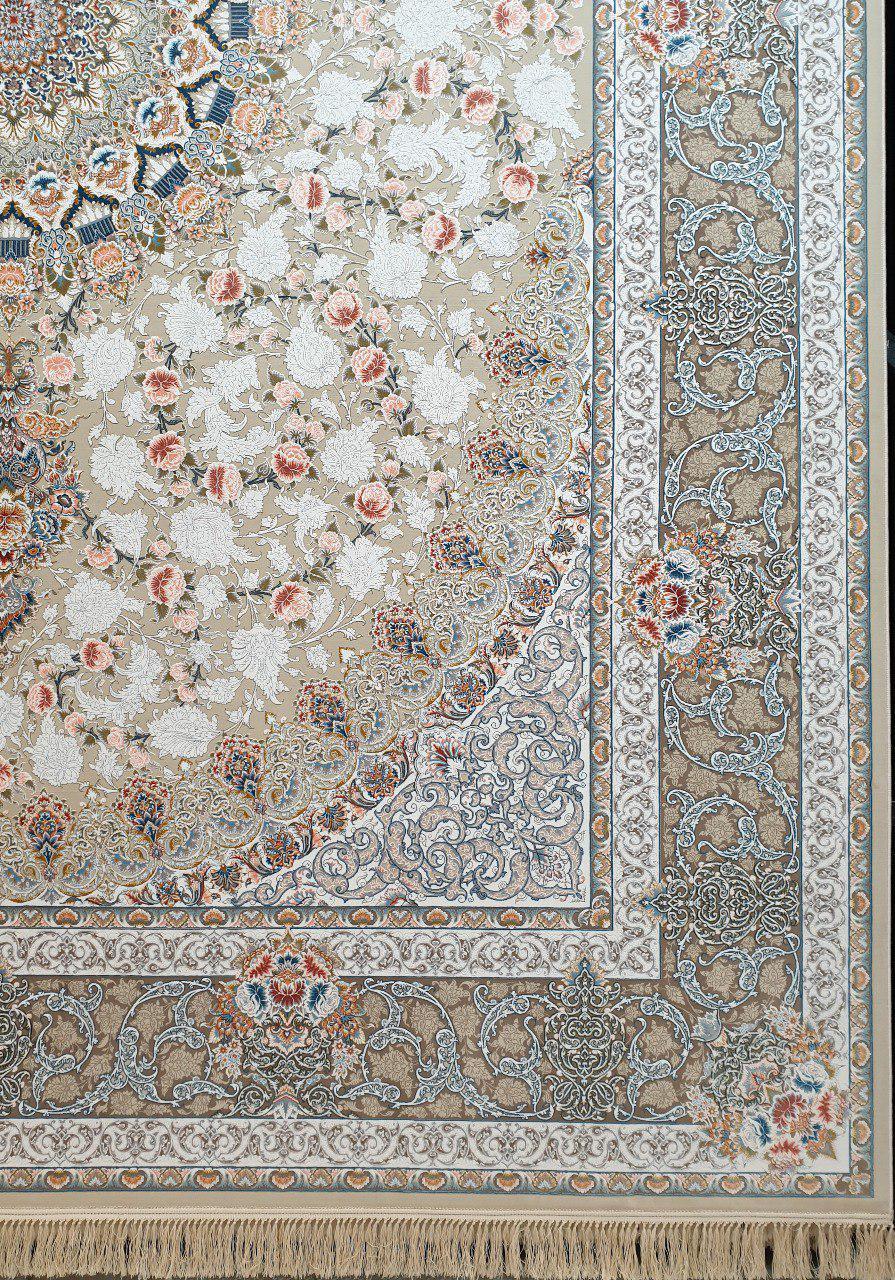 فرش 1200 شانه گل برجسته نقشه یکتا زمینه فیلی