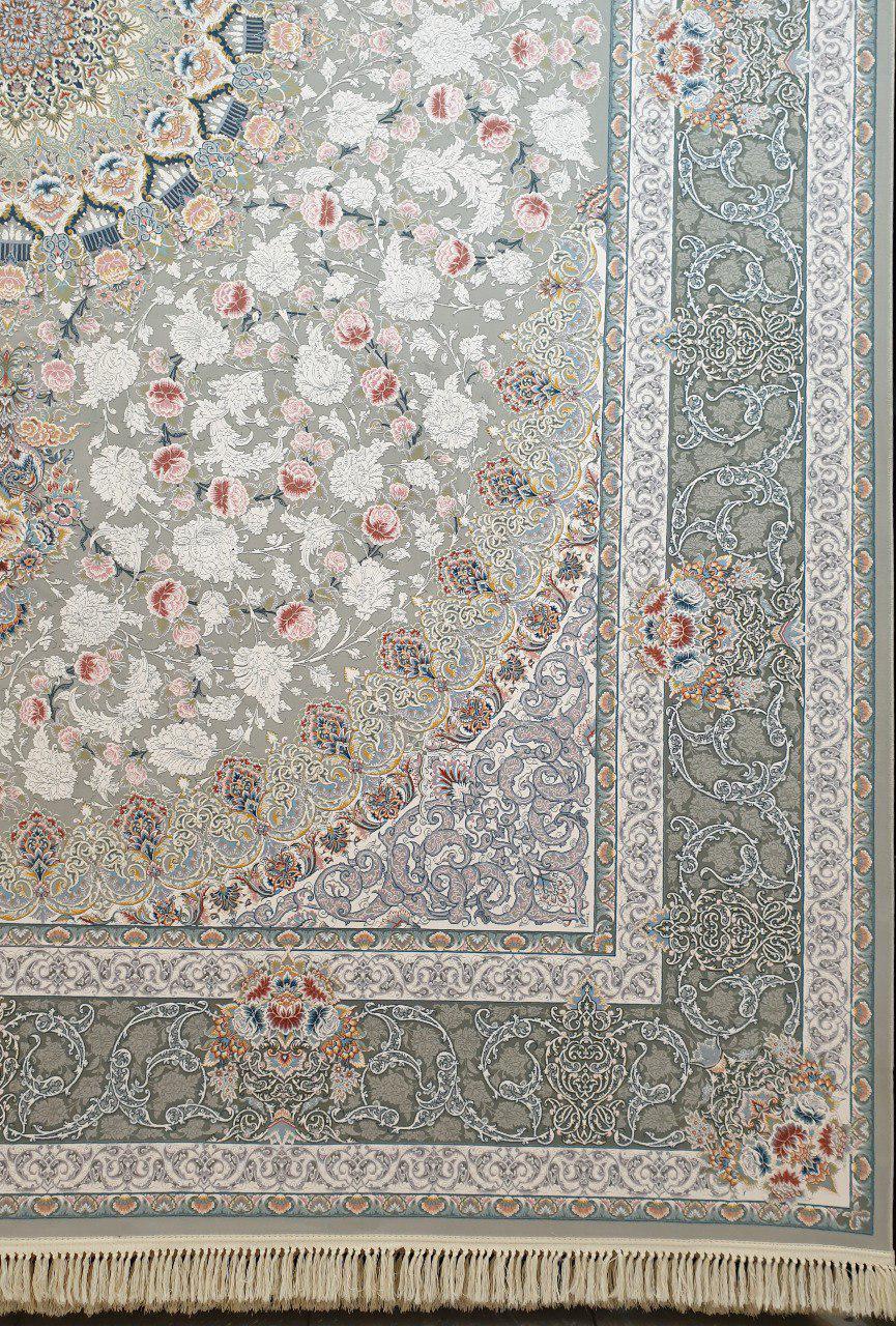 فرش 1200 شانه گل برجسته نقشه یکتا زمینه نقره ای