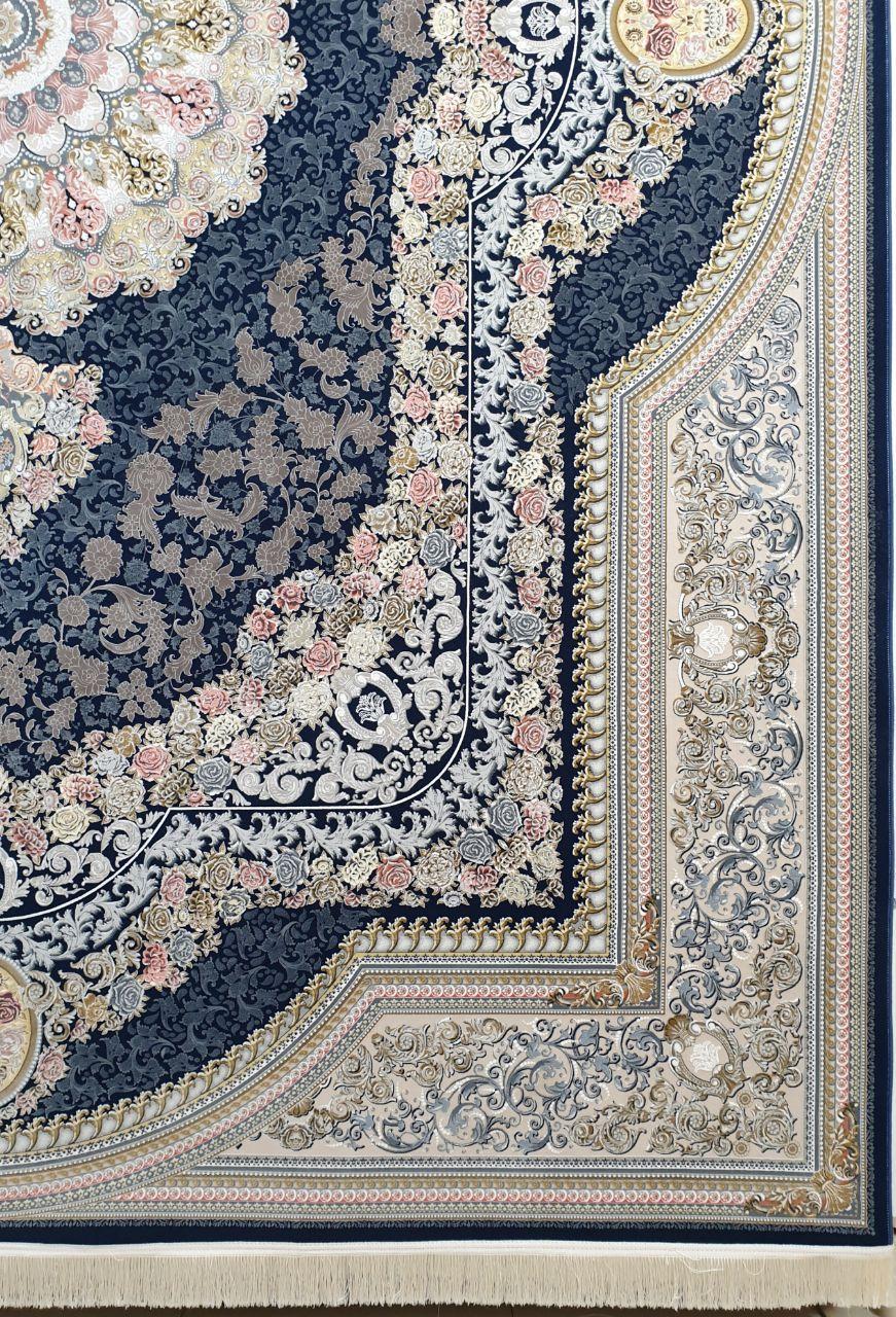 فرش 1500 شانه گل برجسته نقشه گیشا زمینه سرمه ای کاربنی