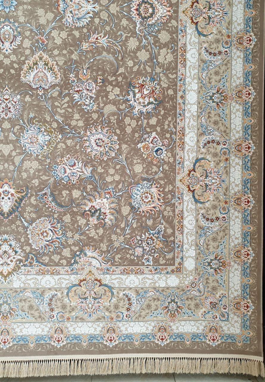 فرش 1200 شانه گل برجسته نقشه همتا زمینه نسکافه ای