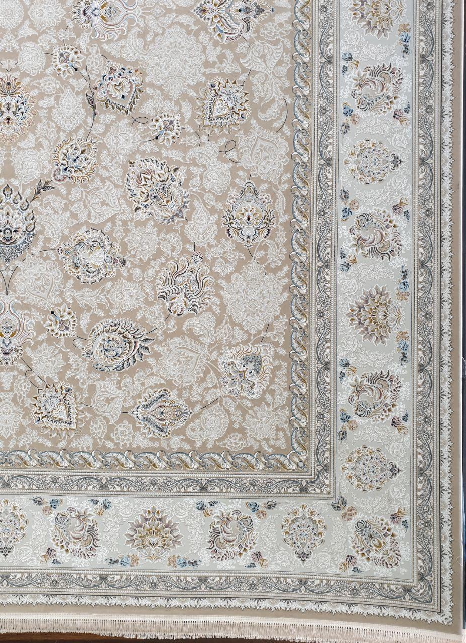 فرش 1500 شانه گل برجسته نقشه ماندگار زمینه بژ