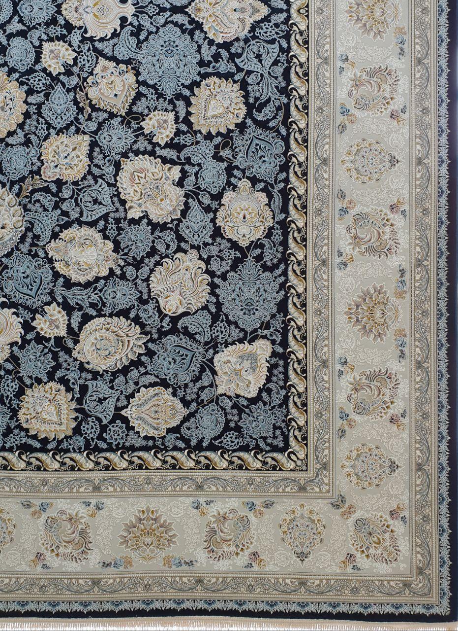فرش 1500 شانه گل برجسته نقشه ماندگار زمینه سرمه ای کاربنی