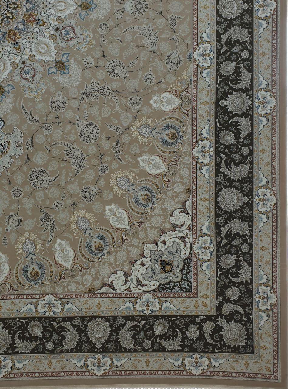 فرش 1500 شانه گل برجسته نقشه نایین زمینه بژ