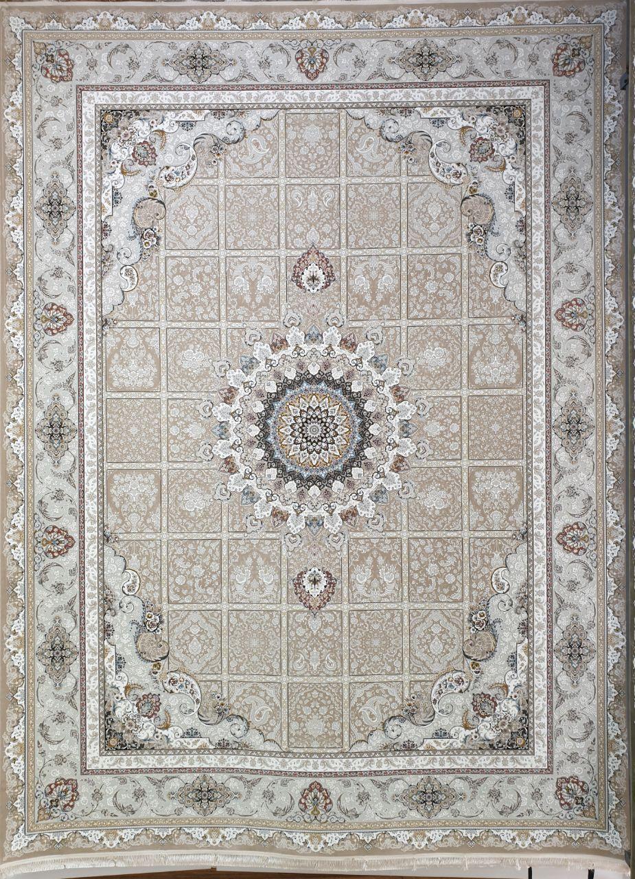 فرش 1500 شانه گل برجسته نقشه نازنین زمینه بژ