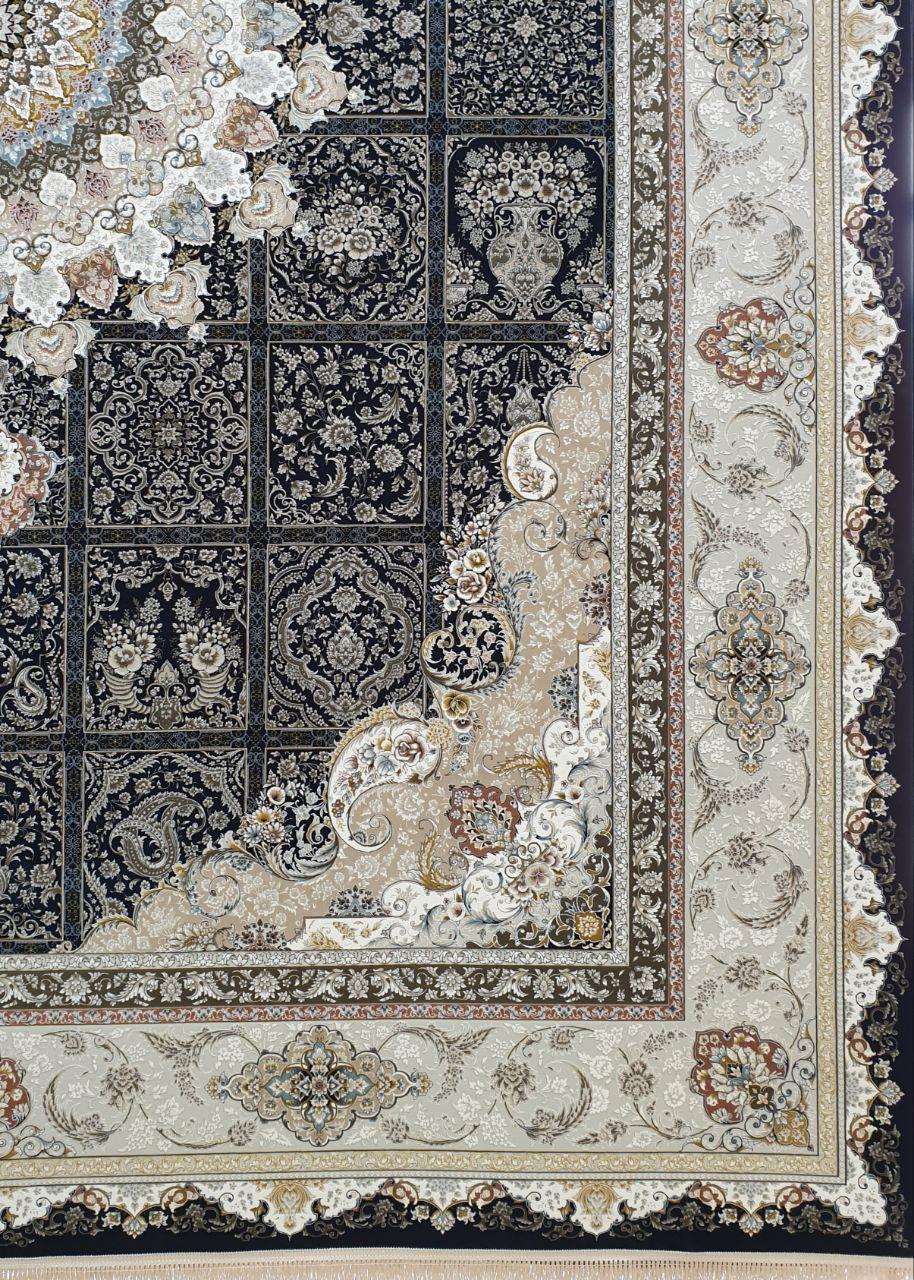 فرش 1500 شانه گل برجسته نقشه نازنین زمینه سرمه ای کاربنی