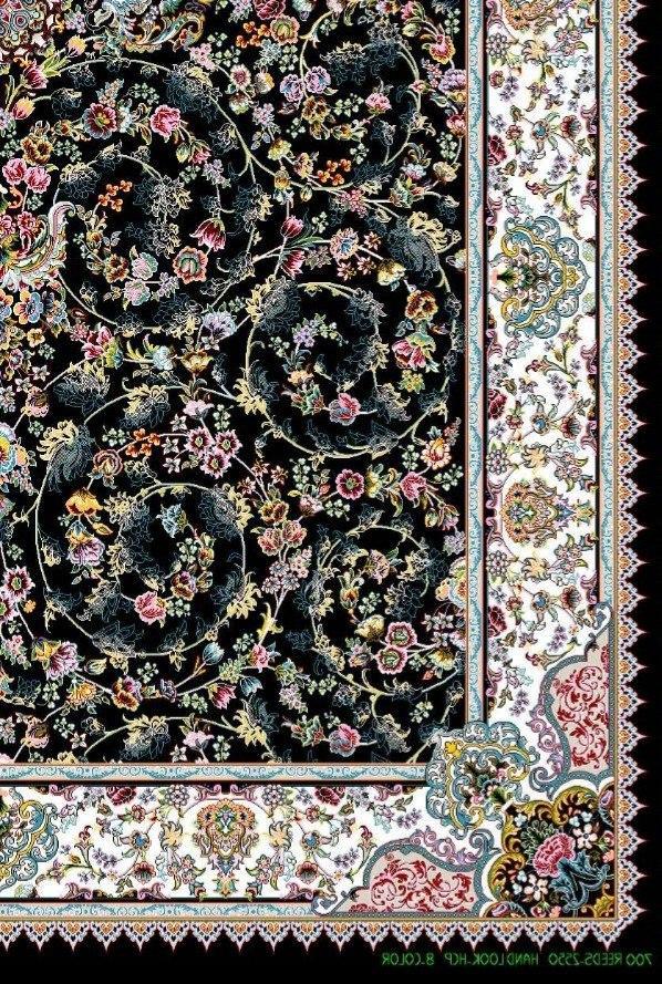 فرش 700 شانه نقشه پرنسس زمینه سرمه ای