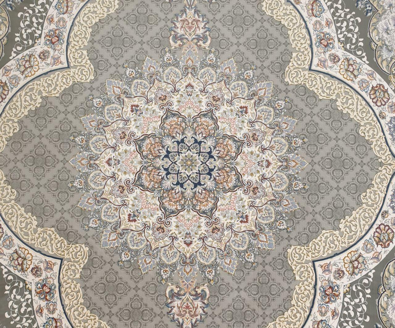 فرش 1200 شانه گل برجسته نقشه رستا زمینه نقره ای