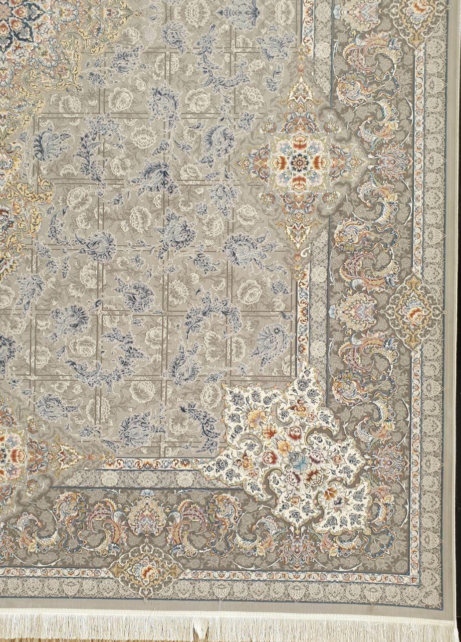 فرش 1200 شانه گل برجسته نقشه سارینا زمینه نقره ای