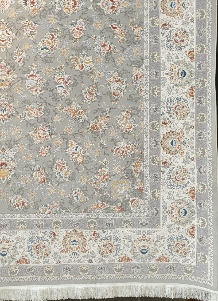 فرش 1500 شانه گل برجسته نقشه سولینا زمینه سیلور