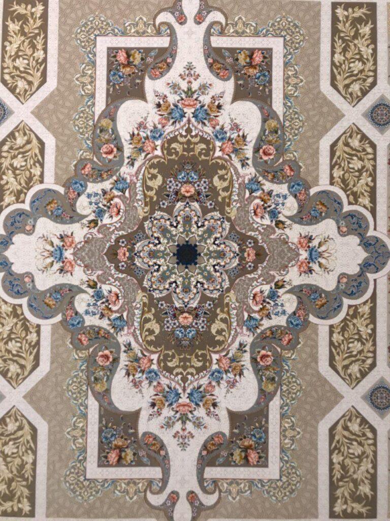 فرش 1200 شانه گل برجسته نقشه خزان زمینه فیلی